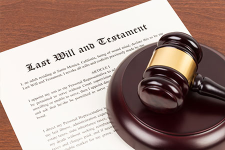 last will and testament and gavel